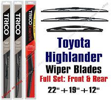 Toyota Highlander 2001-2007 Wiper Blades 3pk Standard Front/Rear 30221/30190/12A