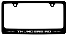 Ford Thunderbird Dual Logos Black Coated Metal License Plate Frame Tag Holder