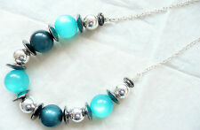 Beads_Dark Blue & Silver Beads Accessorize Silver Necklace - Turquoise Catseye