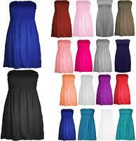 NEW LADIES BOOBTUBE BANDEAU SHORT TOP SUMMER STRAPLESS WOMENS PRINTED DRESS 8-22