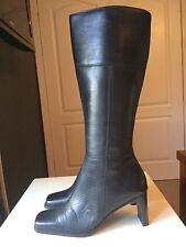 Hush Puppies Ladies Designer Black Leather Knee High Heel Shoe Boot Size 3 37