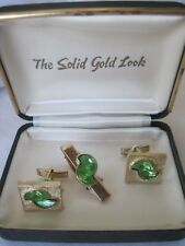 Vintage Gold-Tone and Green Lucite Cufflinks and Tie Bar, Unmarked, NOS