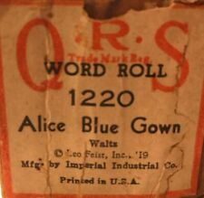 """Q.R.S. Player Piano Word Roll 1220 """"Alice Blue Gown"""" Waltz ***"""