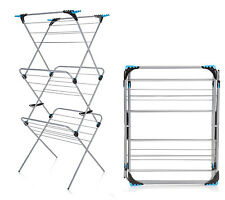 3-Tier 21M Compact Stainless Steel Multipurpose Clothes Airer Washing-line Dryer