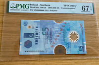 Ireland northern 5 £ pounds Polymer SPECIMEN P203s PMG 67 EPQ UNC COMMEMORATIVE