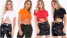 Fashion Womens Ladies Casual Distressed Ripped Slashed Crop Top T-shirt Blouse