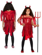 Girls Punk Devil Costume Halloween Devils Fancy Dress Kids Outfit Satan