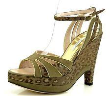 Pollini AEFF Cheetah Print Brown Suede Wedge Sandals 7082 Size 40.5 EU NEW!