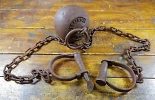 Antique Style Alcatraz Prison San Francisco CA Solid Iron Ball & Chain Shackles