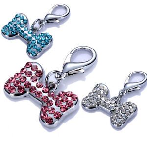 Bone Shaped Dog Tag Rhinestones Collar Charms Crystal Pendants Pet Accessories