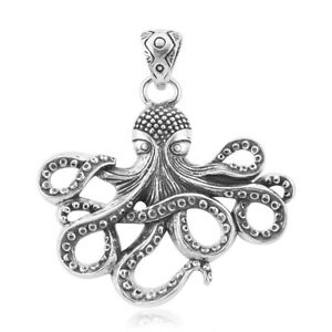 Octopus Pendant in 925 Sterling Silver Statement Pendant - 45 mm