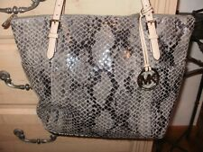 Michael Kors Gray Snakeskin Handbag With Silver And Nude Details