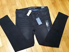American Ealge Jeggings Jeans Size 14 r Low Rise Super Stretch Black Demin X NWT