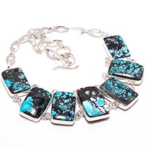 "Tibetain Turquoise Gemstone Handmade 925 Silver Jewelry Necklace 18"" KAJ-8153"