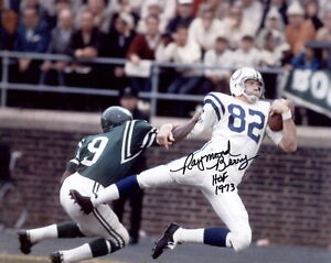 RAYMOND BERRY HAND SIGNED 8x10 COLOR PHOTO+COA      BALTIMORE COLTS HOF