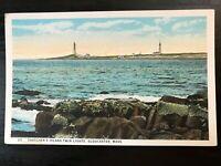 Vintage Postcard>1920>Thatcher's Island>Twin Lights>Gloucester>Mass.