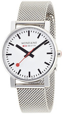 Mondaine Men's Quartz Watch with White Dial Analogue Display and Silver Stainles