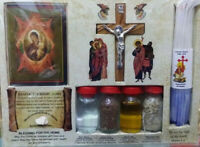 4 ELEMENTS SET Anointing oil,Jerusalem stone,Candles,Soil,Holy Water,Wood Icon