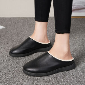 Mens Pu Leather Round Toe Slip On Slippers Winter Warm Fleece Lined Flats Shoes