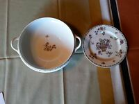 Rare ANTIQUE O.P Co SYRACUSE CHINA ROSLYN PLATE HANDLED BOWL POT 1916