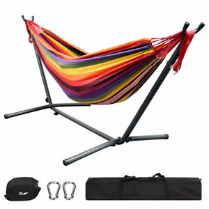 NEW Double Hammock with Stand Stripes Hanging Bed Portable and Durable Furniture
