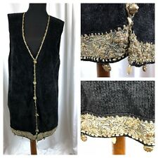 Lianne Barnes Cardigan Sweater Vest Black Chenille Metallic Lace Sequin Trim - L