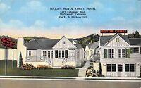 Linen Postcard Major's Motor Court Hotel in Hollywood, California~113482