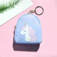 1PC Blue Girls Cartoon Unicorn Pocket Wallet Purse Bag Key Chain Decor Acces