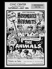 "Hermans Hermits / Animals Civic 16"" x 12"" Photo Repro Concert Poster"