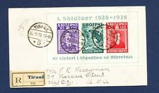 Albania - # 298 - S/S on Registered cover to Nassau St, Nyc Usa - 1938