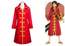 One Piece Monkey D. Luffy Cosplay Costume Outfit Red Trench Coat UK