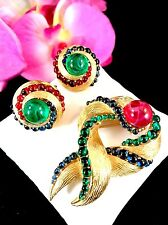 RARE CROWN TRIFARI MOGHUL JEWELS OF INDIA 'EVITA' GRIPOIX BROOCH EARRINGS SET