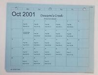 DAWSON'S CREEK set used paperwork ~ PRODUCTION CALENDAR Oct 2001-Apr 2002