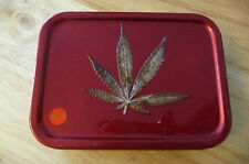 HAND PAINTED ROLLING TOBACCO TIN WITH EMBOSSED Cannabis marijuana leaf on top