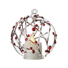 "RAZ Imports 3.5"" Berry Branch Ornament Flameless Tea Light Glass Christmas NEW"