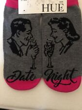 WOMEN'S HUE RETRO DATE NIGHT GRAY PINK LOW NO SHOW SOCKS NWT OS