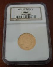 Uruguay 1930 Gold 5 Pesos NGC MS62