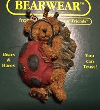 Boyds Bears Pin Bear in Bug Costume Brooch Resin Lapel Pin Vintage Bearwear