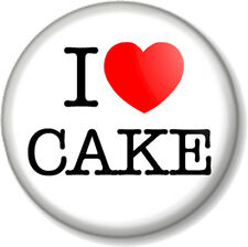 """I Love / Heart Cake 1"""" 25mm Pin Button Badge Great British Bake Off food gift"""