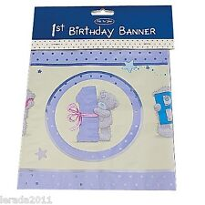 FIRST BIRTHDAY BANNER 1 1ST FIRST LILAC BABY ME TO YOU TATTY TEDDY CUTE PARTY