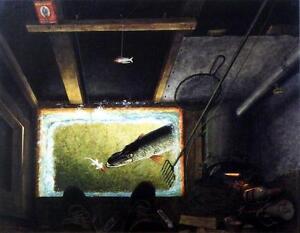 "Les Kouba ""Darkhouse Spearing ""  Canvas Fishing Print"