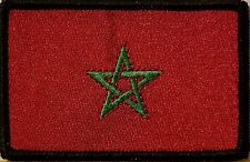 Morocco  Flag Patch With VELCRO® Brand Fastener Morale Emblem BLACK Border