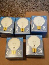 """5 brand new Abco clear 3"""" contemporary globe lamp 25 watt 120v. 5pcs"""