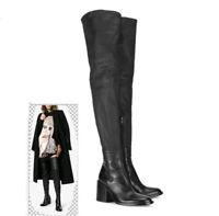 Schwarz Overkneestiefel Damenschuhe Blockabsatz Boots Gr:33-45 Winter Schuhe NEU