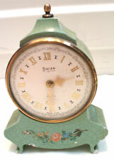 "Swiza Mignon Swiss Made Enamelled Flower Design Case Mantle Clock 5""H 3.5""W GWC"