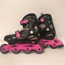 Kryptonics Fabulous Inline Skates Black & Pink Girls Adjustable Size 1-4