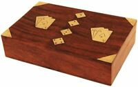 Handmade Wooden Decorative Playing Card Box Organizer with 2 Decks of Card Free