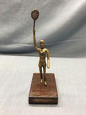 Antique Primitive WOMEN TENNIS PLAYER ~ FOLK ART Metal Statue Sculpture (A12)