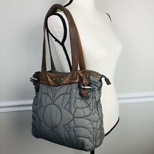 FOSSIL Key Per Green Quilted Handbag Gray  Leather Trim Flower Tote Purse