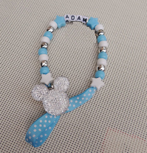 Personalised Stunning Bling Baby Blue Dummy Clip Chain  for reborn doll